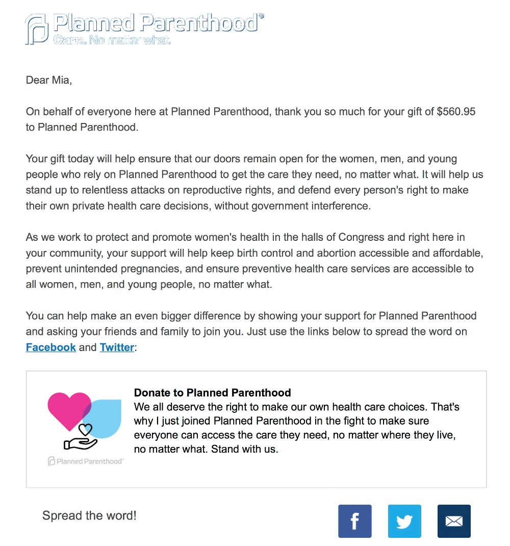 how to cancel planned parenthood donation