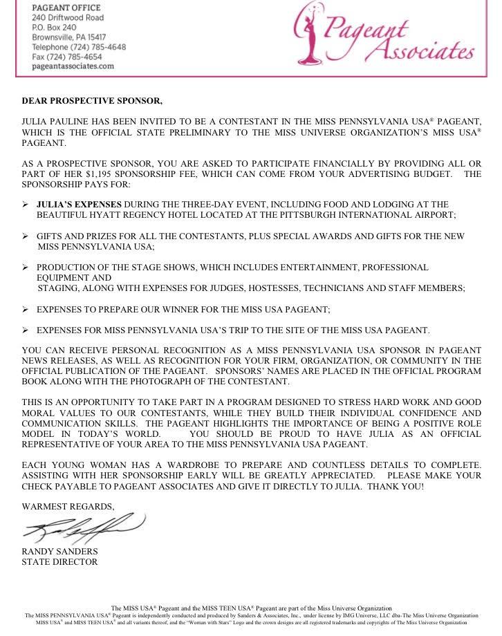 Good Pageant Sponsorship Letter