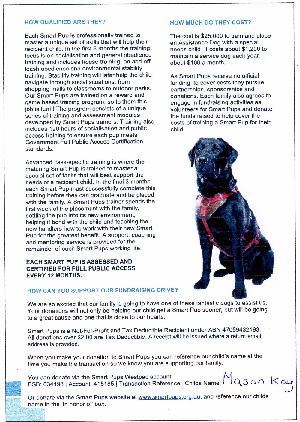 Fundraiser By Sarah Beth Masons Autism Service Dog Fund