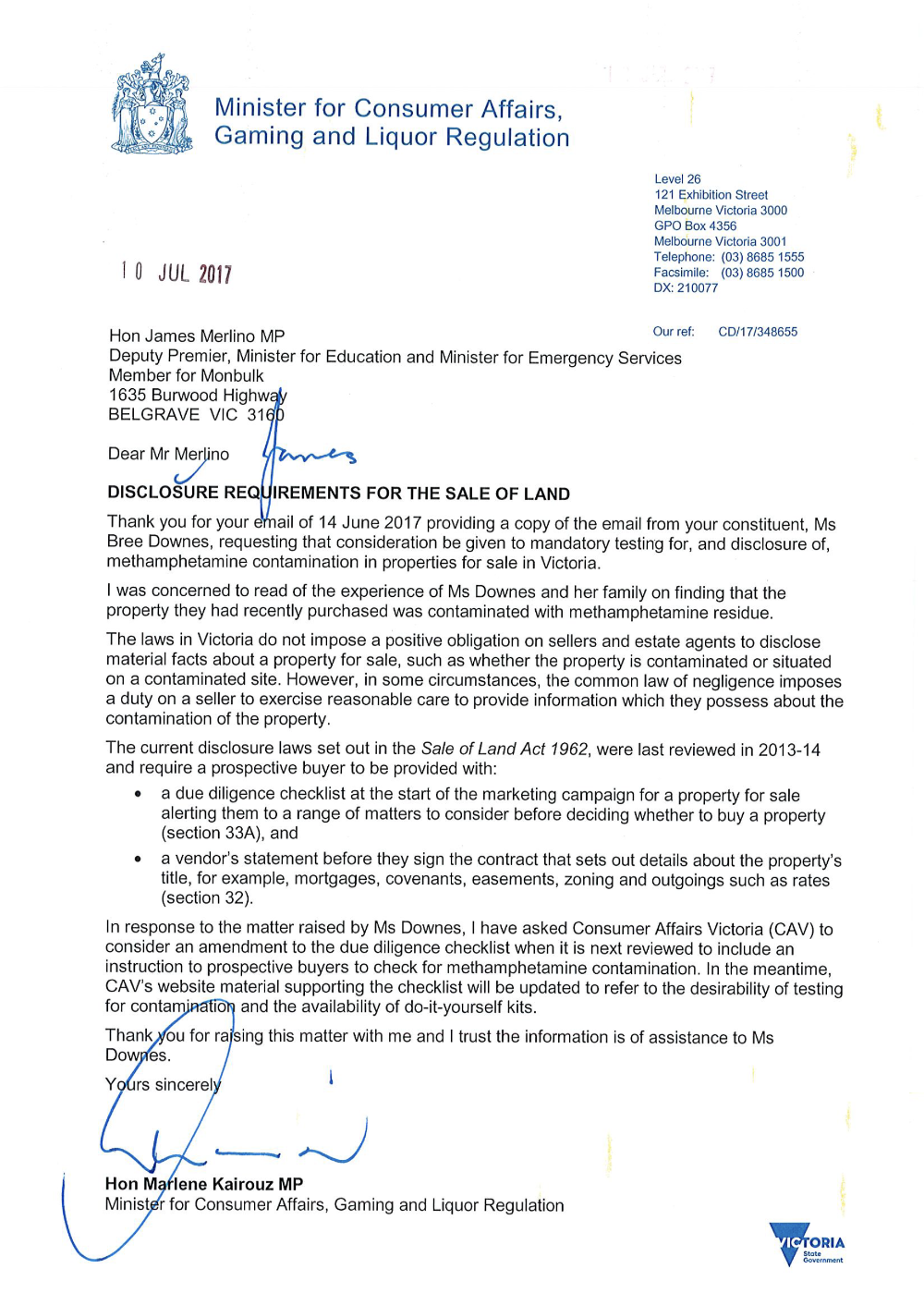 Fundraiser by meg landmann family home remediation heres a hopeful letter from the minister for consumer affairs that james merlino our local member has passed on solutioingenieria Gallery