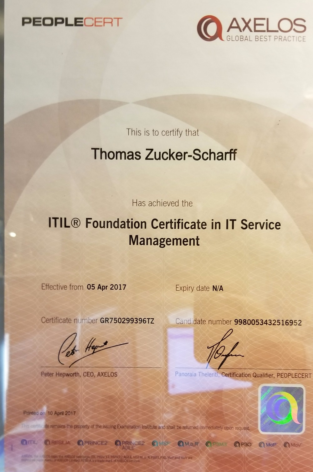 Fundraiser by thomas zucker scharff certification fund so thanks to those who supported me last time around i was able to earn a rather nice certification in itil fundamentals part of which is pictured here xflitez Images
