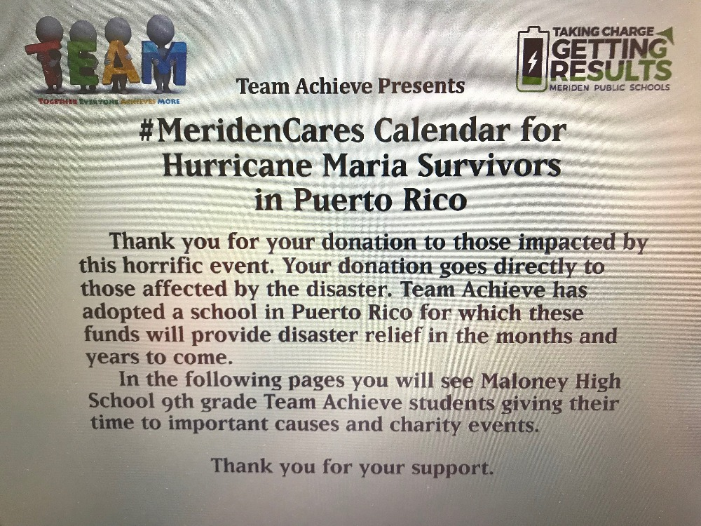 ... of Team Achieves community service calendar! All proceeds go to Puerto  Rico students impacted by Hurricane Maria #thankyou for your support!